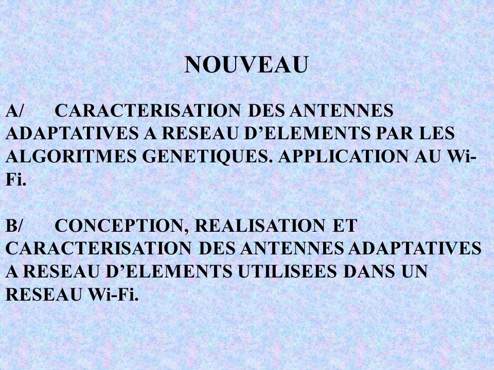 NOUVEAU A/CARACTERISATION DES ANTENNES ADAPTATIVES A RESEAU DELEMENTS PAR LES ALGORITMES GENETIQUES.