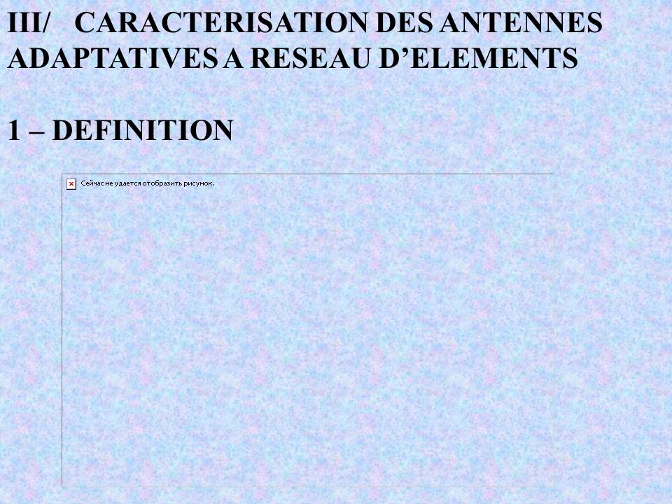III/CARACTERISATION DES ANTENNES ADAPTATIVES A RESEAU DELEMENTS 1 – DEFINITION