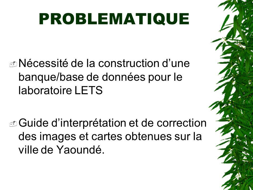 PROBLEMATIQUE Nécessité de la construction dune banque/base de données pour le laboratoire LETS Guide dinterprétation et de correction des images et c