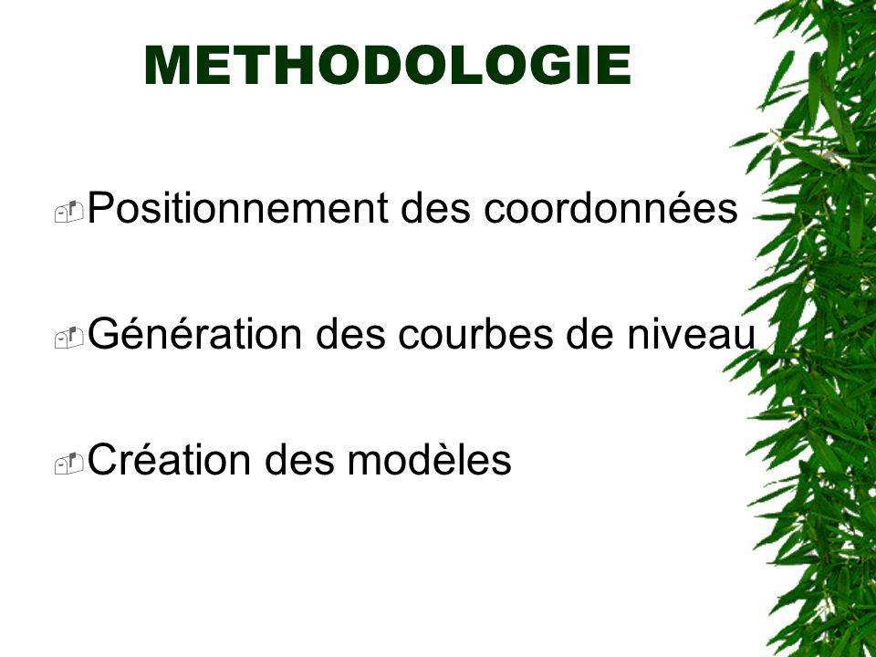 Positionnement des coordonnées Génération des courbes de niveau Création des modèles METHODOLOGIE
