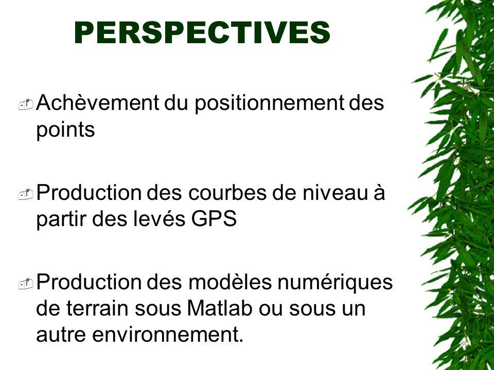 PERSPECTIVES Achèvement du positionnement des points Production des courbes de niveau à partir des levés GPS Production des modèles numériques de terr