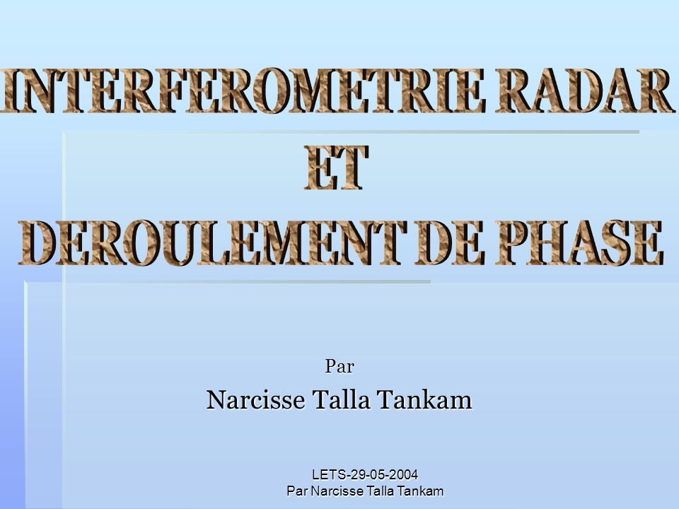 LETS-29-05-2004 Par Narcisse Talla Tankam Par Narcisse Talla Tankam