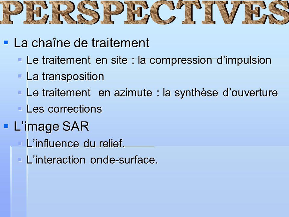 La chaîne de traitement La chaîne de traitement Le traitement en site : la compression dimpulsion Le traitement en site : la compression dimpulsion La
