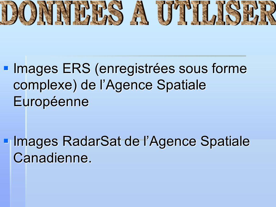 Images ERS (enregistrées sous forme complexe) de lAgence Spatiale Européenne Images ERS (enregistrées sous forme complexe) de lAgence Spatiale Europée