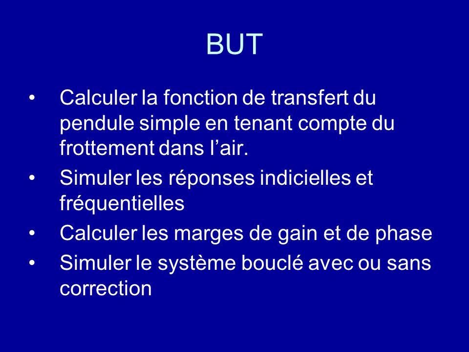 BUT Calculer la fonction de transfert du pendule simple en tenant compte du frottement dans lair. Simuler les réponses indicielles et fréquentielles C