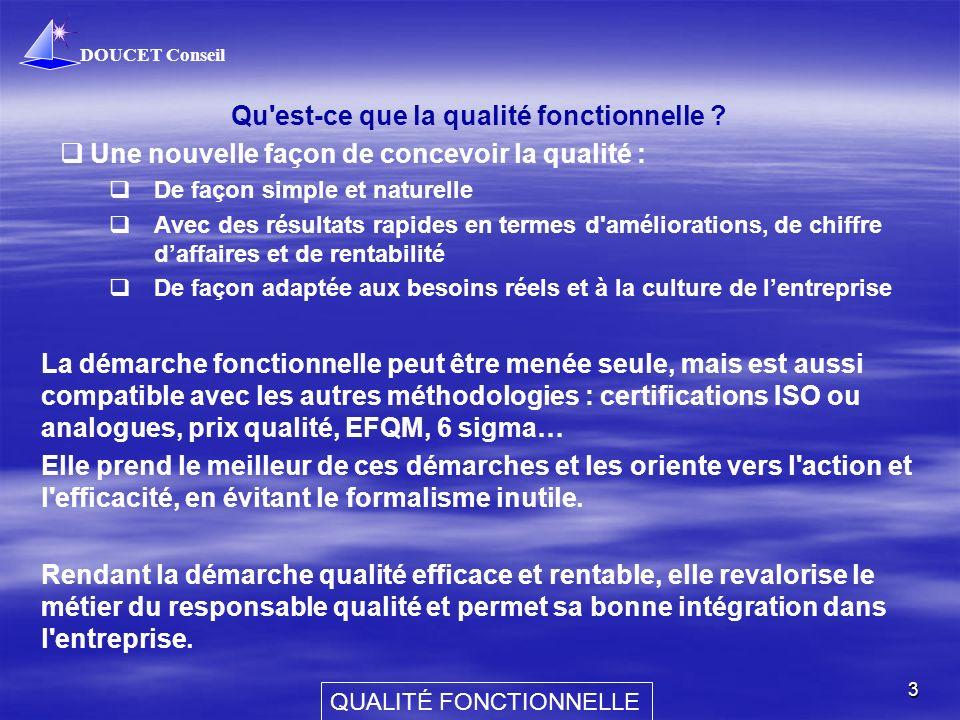 DOUCET Conseil QUALITÉ FONCTIONNELLE 3 Qu'est-ce que la qualité fonctionnelle ? Une nouvelle façon de concevoir la qualité : De façon simple et nature