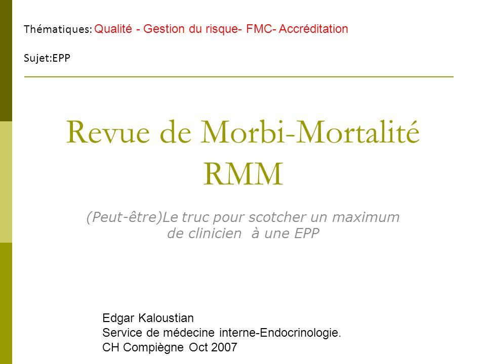Revue de Morbi-Mortalité RMM (Peut-être)Le truc pour scotcher un maximum de clinicien à une EPP Thématiques: Qualité - Gestion du risque- FMC- Accrédi