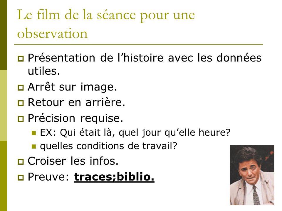 Le film de la séance pour une observation Présentation de lhistoire avec les données utiles. Arrêt sur image. Retour en arrière. Précision requise. EX