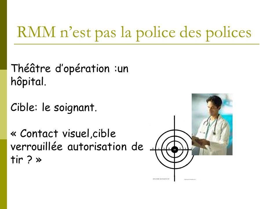 Théâtre dopération :un hôpital. Cible: le soignant. « Contact visuel,cible verrouillée autorisation de tir ? » RMM nest pas la police des polices
