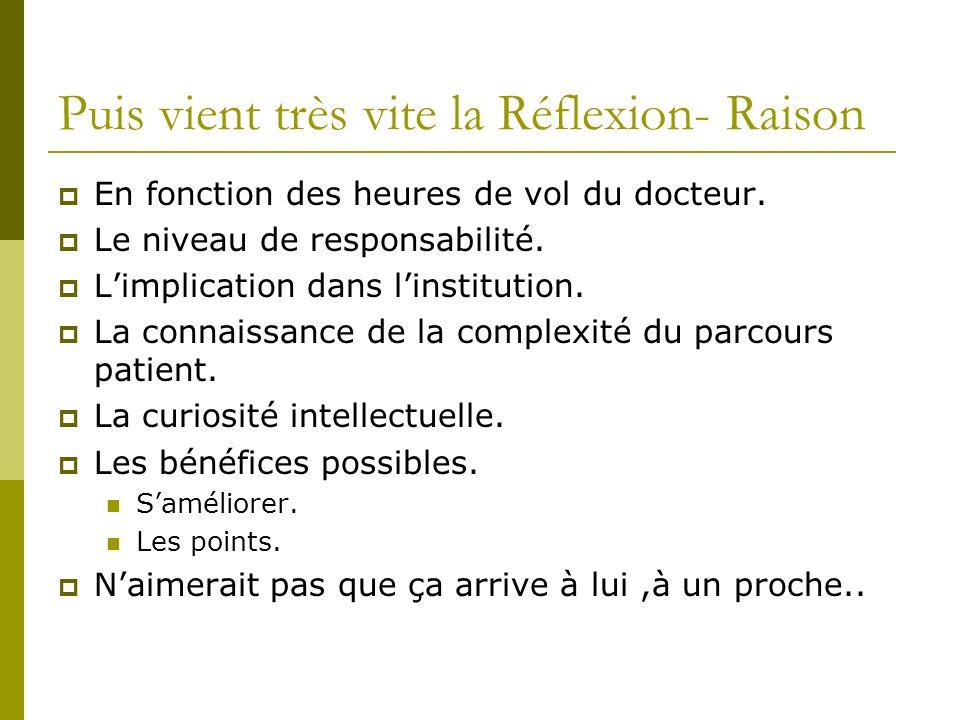 Puis vient très vite la Réflexion- Raison En fonction des heures de vol du docteur. Le niveau de responsabilité. Limplication dans linstitution. La co