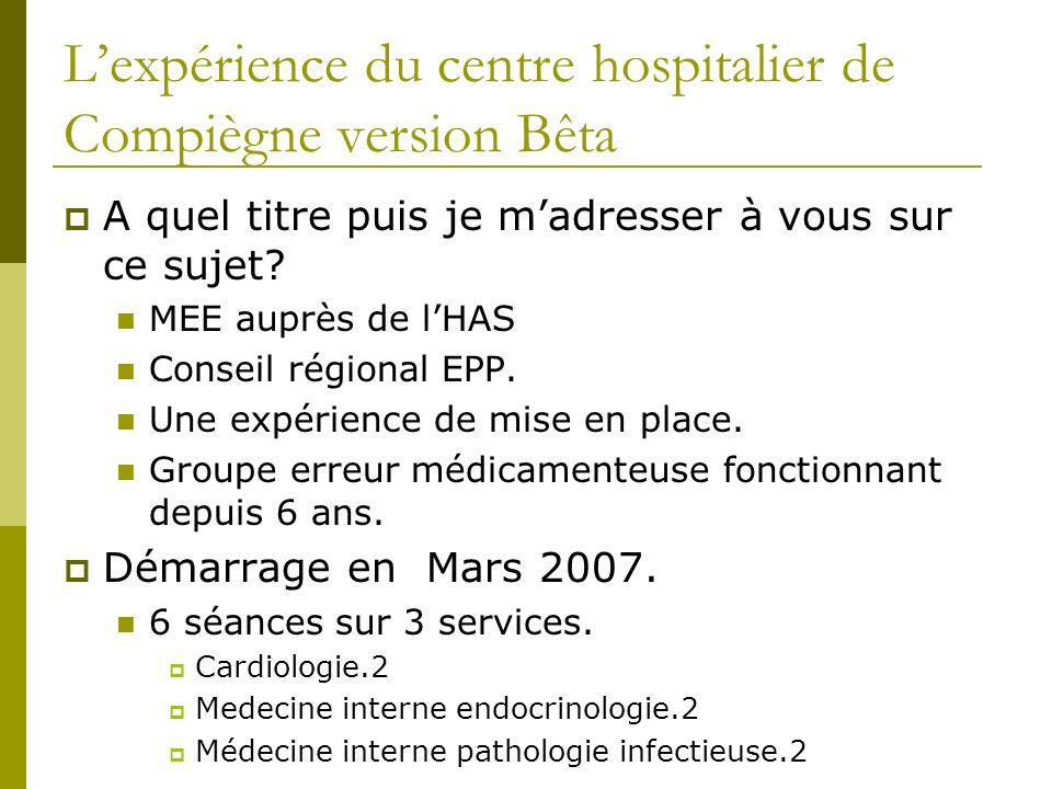 Lexpérience du centre hospitalier de Compiègne version Bêta A quel titre puis je madresser à vous sur ce sujet? MEE auprès de lHAS Conseil régional EP