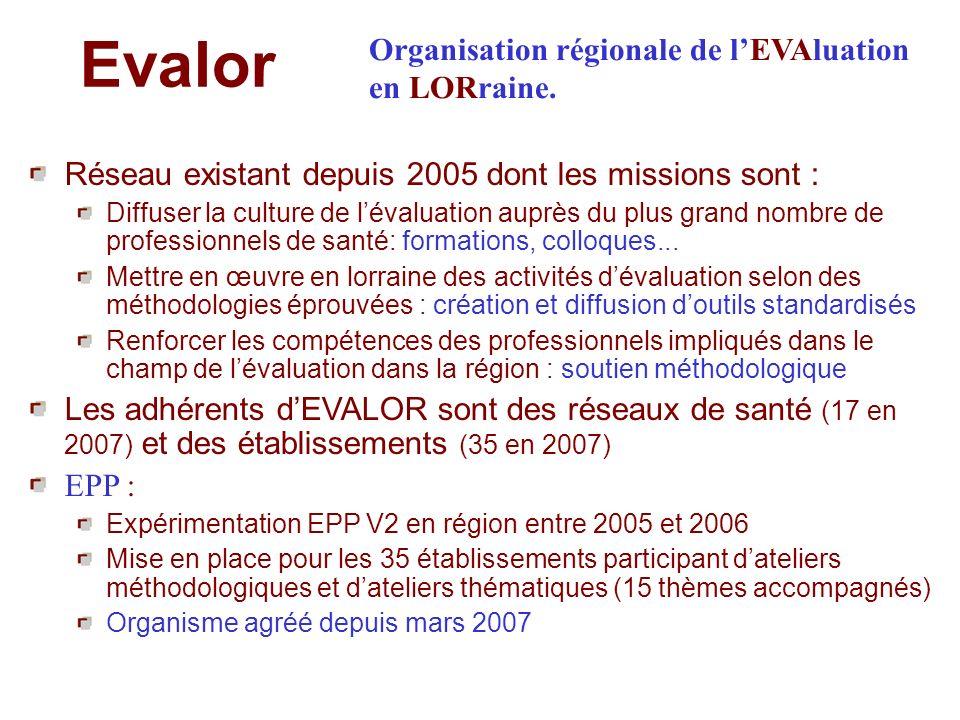 Evalor Réseau existant depuis 2005 dont les missions sont : Diffuser la culture de lévaluation auprès du plus grand nombre de professionnels de santé: formations, colloques...
