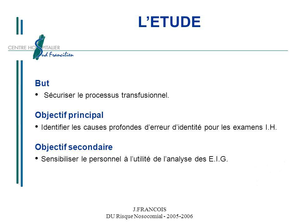 J.FRANCOIS DU Risque Nosocomial - 2005-2006 LETUDE But Sécuriser le processus transfusionnel. Objectif principal Identifier les causes profondes derre