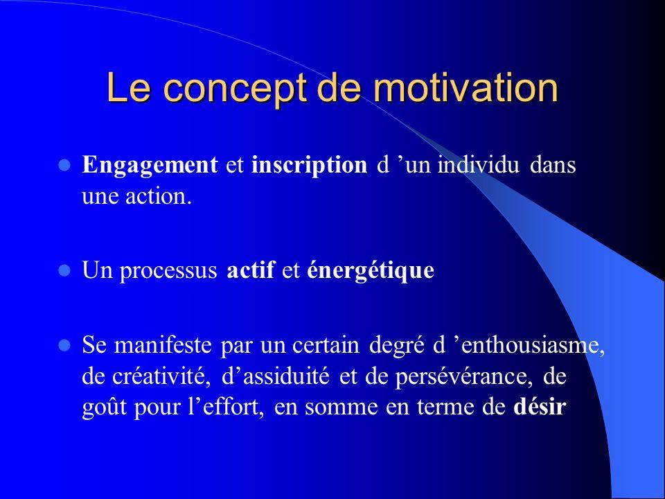 Le concept de motivation Engagement et inscription d un individu dans une action. Un processus actif et énergétique Se manifeste par un certain degré