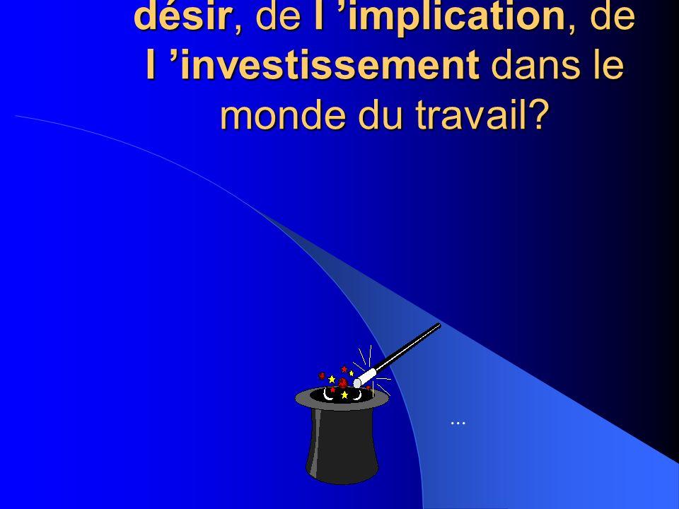 En somme, qu est ce qui favorise l expression du désir, de l implication, de l investissement dans le monde du travail?...