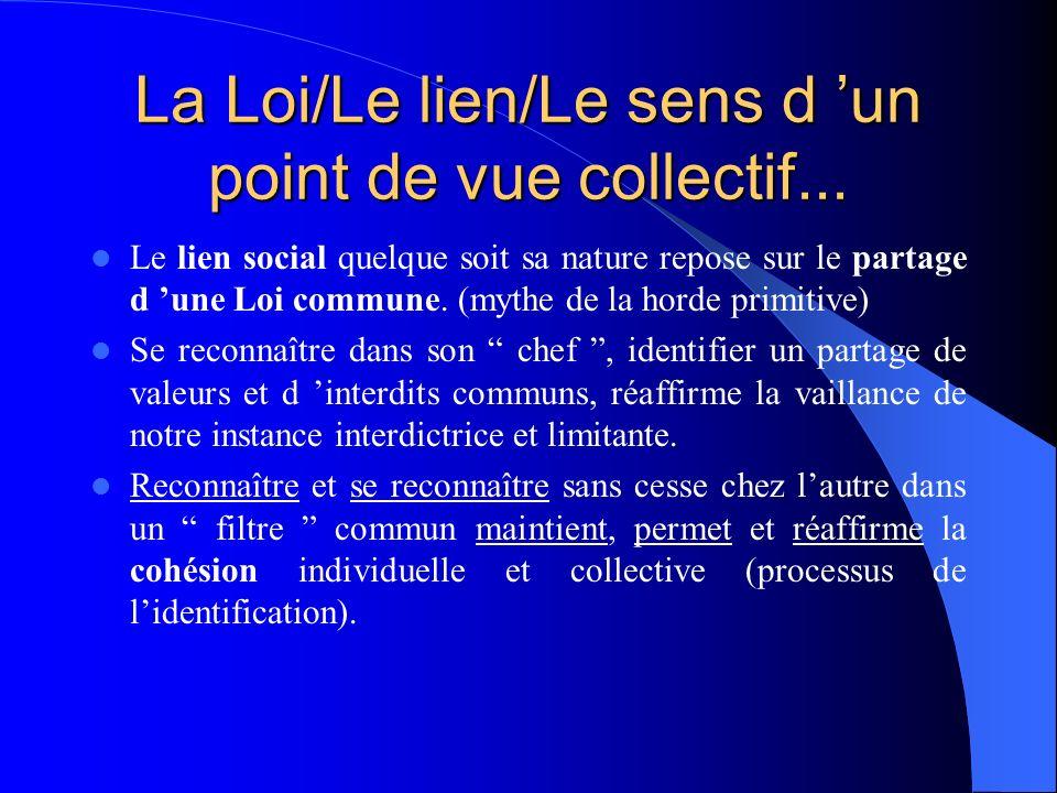 La Loi/Le lien/Le sens d un point de vue collectif... Le lien social quelque soit sa nature repose sur le partage d une Loi commune. (mythe de la hord