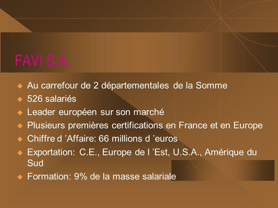 FAVI S.A. Au carrefour de 2 départementales de la Somme 526 salariés Leader européen sur son marché Plusieurs premières certifications en France et en