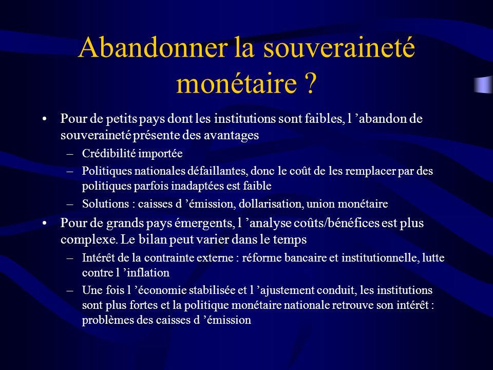 Abandonner la souveraineté monétaire ? Pour de petits pays dont les institutions sont faibles, l abandon de souveraineté présente des avantages –Crédi