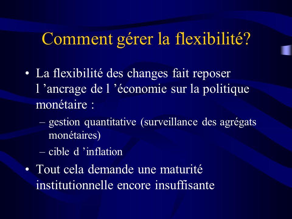 Comment gérer la flexibilité? La flexibilité des changes fait reposer l ancrage de l économie sur la politique monétaire : –gestion quantitative (surv
