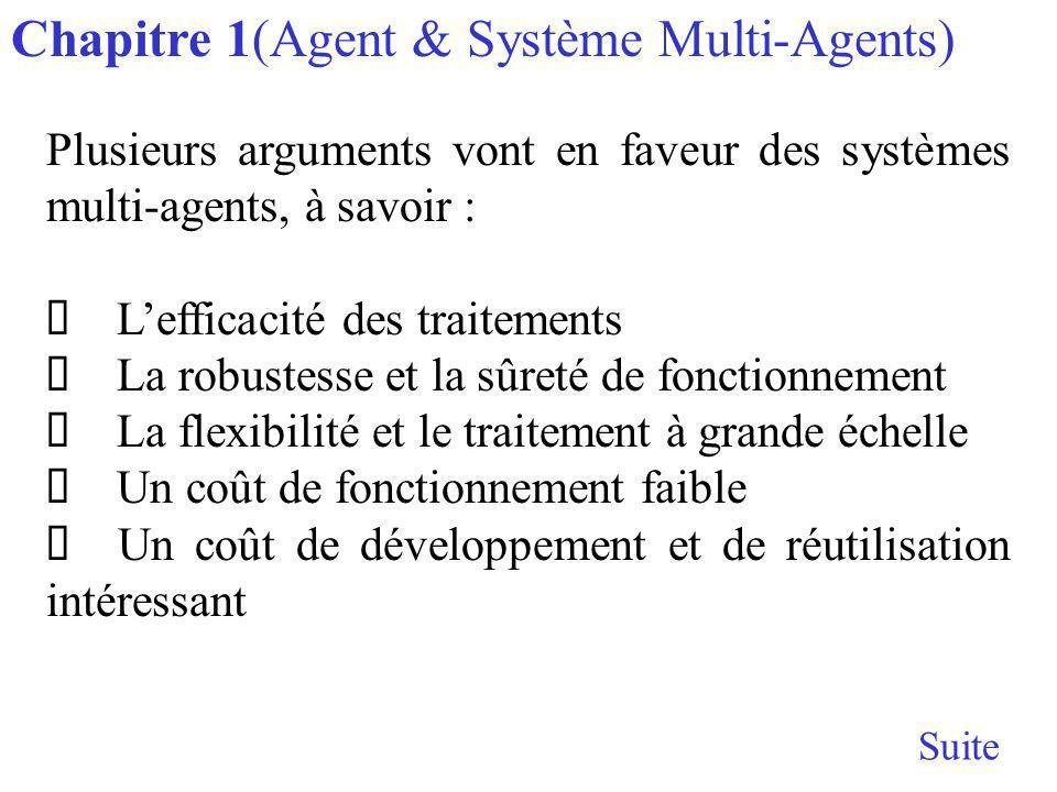 Plusieurs arguments vont en faveur des systèmes multi-agents, à savoir : Lefficacité des traitements La robustesse et la sûreté de fonctionnement La flexibilité et le traitement à grande échelle Un coût de fonctionnement faible Un coût de développement et de réutilisation intéressant Chapitre 1(Agent & Système Multi-Agents)