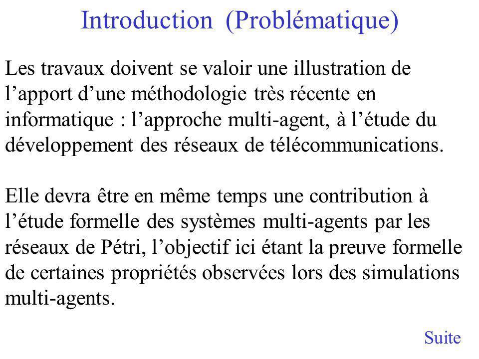 Introduction (Problématique) Suite Les travaux doivent se valoir une illustration de lapport dune méthodologie très récente en informatique : lapproche multi-agent, à létude du développement des réseaux de télécommunications.