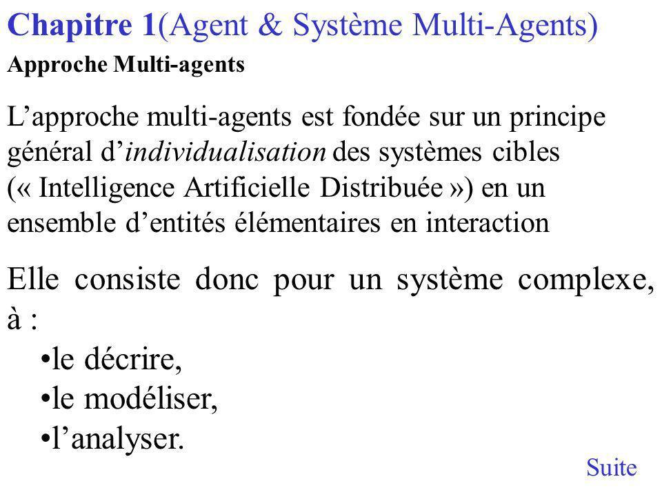 Approche Multi-agents Lapproche multi-agents est fondée sur un principe général dindividualisation des systèmes cibles (« Intelligence Artificielle Distribuée ») en un ensemble dentités élémentaires en interaction Elle consiste donc pour un système complexe, à : le décrire, le modéliser, lanalyser.