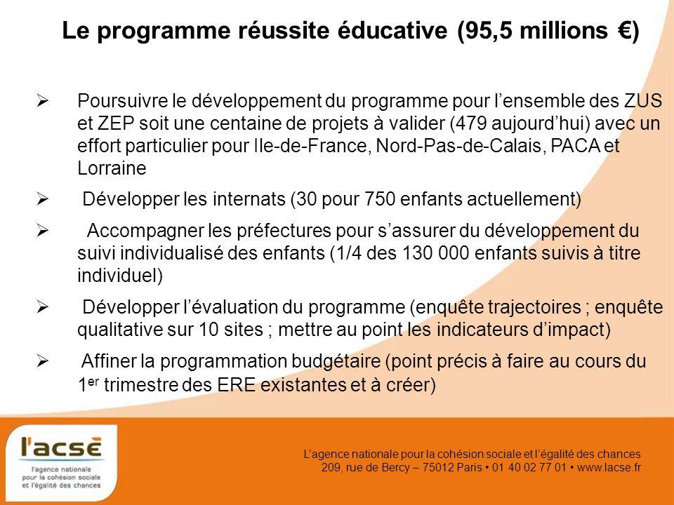 Lagence nationale pour la cohésion sociale et légalité des chances 209, rue de Bercy – 75012 Paris 01 40 02 77 01 www.lacse.fr Le programme réussite é