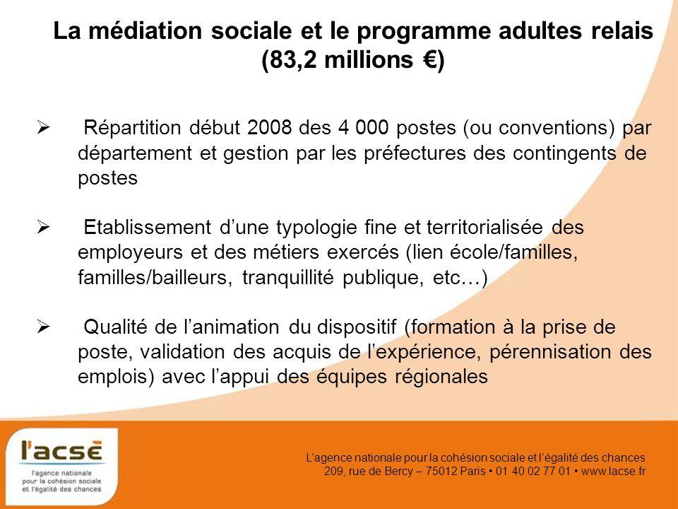 Lagence nationale pour la cohésion sociale et légalité des chances 209, rue de Bercy – 75012 Paris 01 40 02 77 01 www.lacse.fr La médiation sociale et