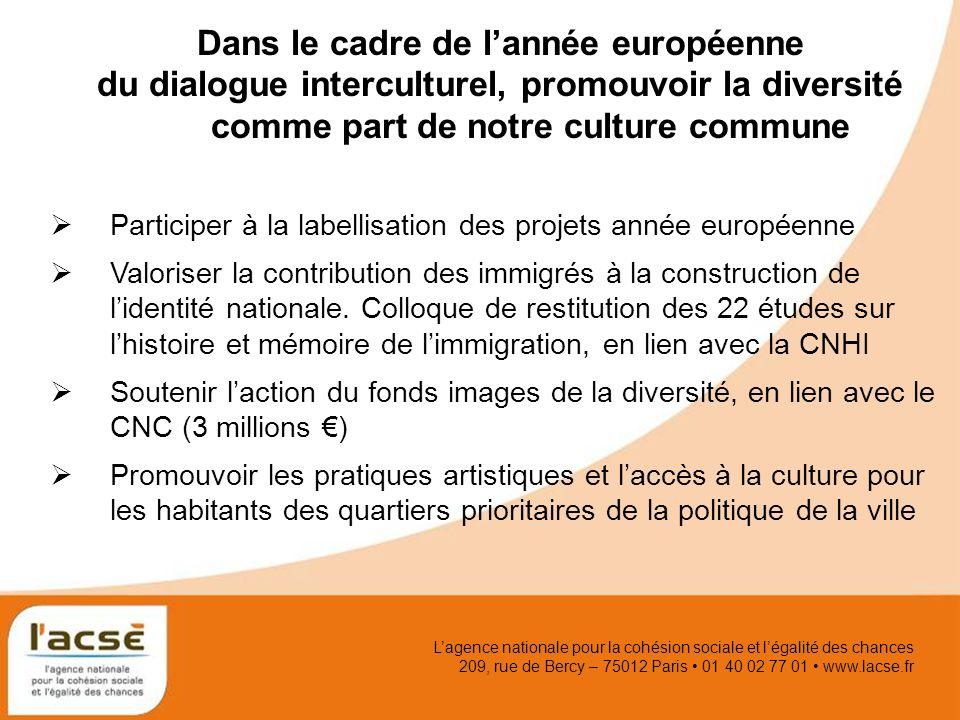 Lagence nationale pour la cohésion sociale et légalité des chances 209, rue de Bercy – 75012 Paris 01 40 02 77 01 www.lacse.fr Dans le cadre de lannée