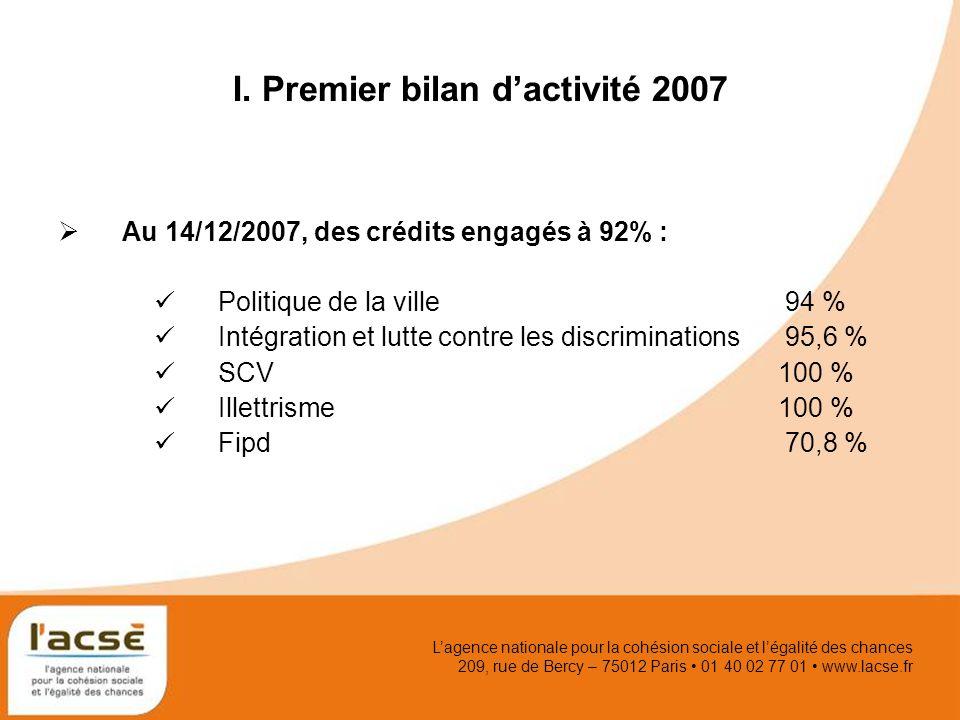 Lagence nationale pour la cohésion sociale et légalité des chances 209, rue de Bercy – 75012 Paris 01 40 02 77 01 www.lacse.fr I. Premier bilan dactiv