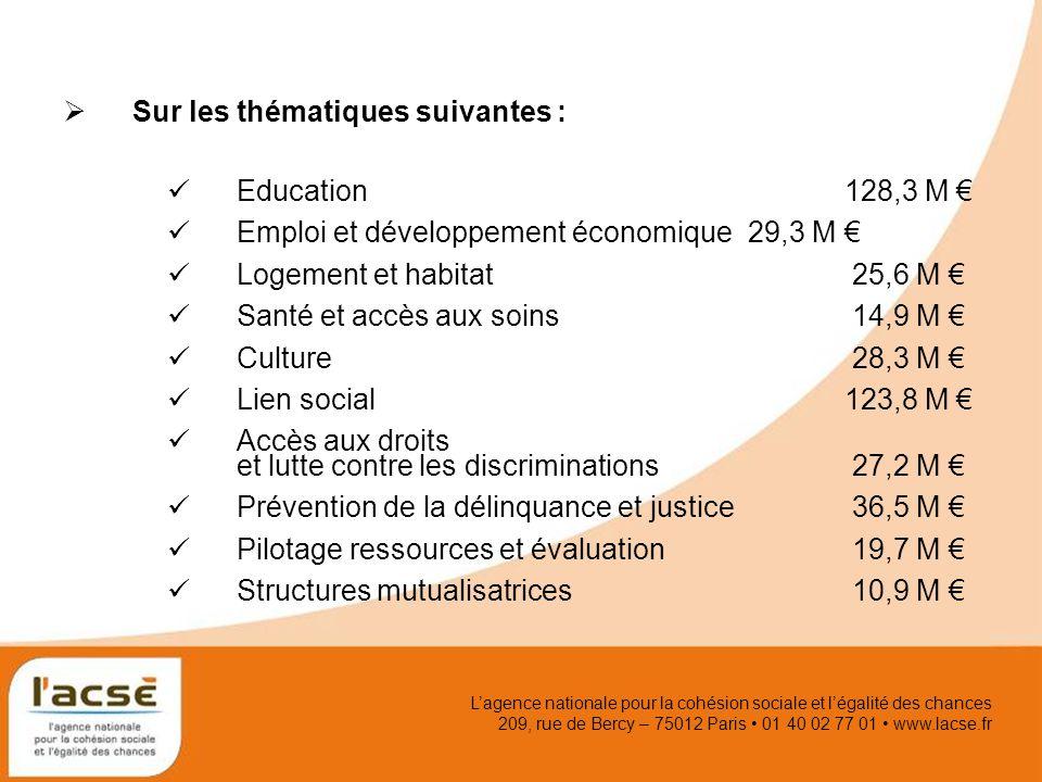 Lagence nationale pour la cohésion sociale et légalité des chances 209, rue de Bercy – 75012 Paris 01 40 02 77 01 www.lacse.fr Sur les thématiques sui