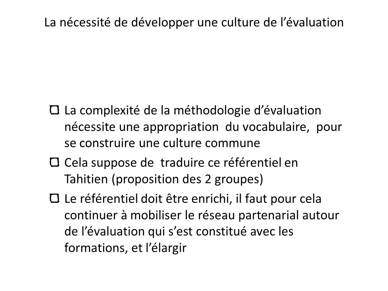 La nécessité de développer une culture de lévaluation La complexité de la méthodologie dévaluation nécessite une appropriation du vocabulaire, pour se