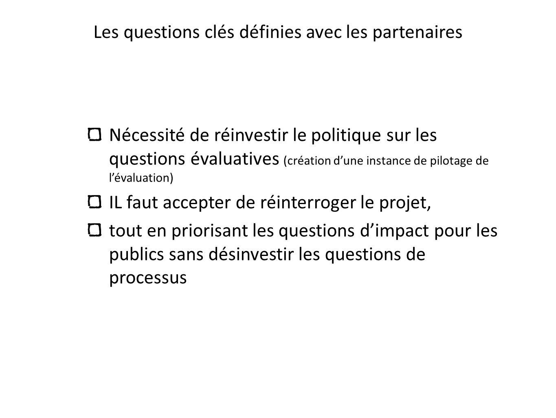 Les questions clés définies avec les partenaires Nécessité de réinvestir le politique sur les questions évaluatives (création dune instance de pilotag