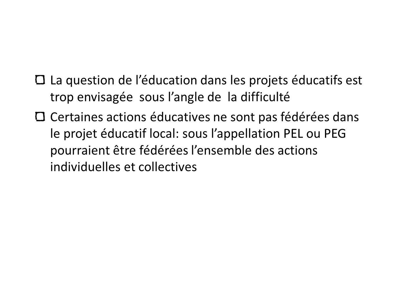 La question de léducation dans les projets éducatifs est trop envisagée sous langle de la difficulté Certaines actions éducatives ne sont pas fédérées