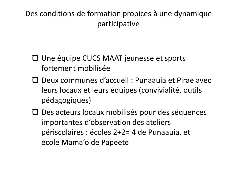 Des conditions de formation propices à une dynamique participative Une équipe CUCS MAAT jeunesse et sports fortement mobilisée Deux communes daccueil
