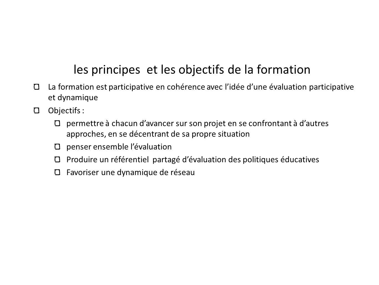 les principes et les objectifs de la formation La formation est participative en cohérence avec lidée dune évaluation participative et dynamique Objec