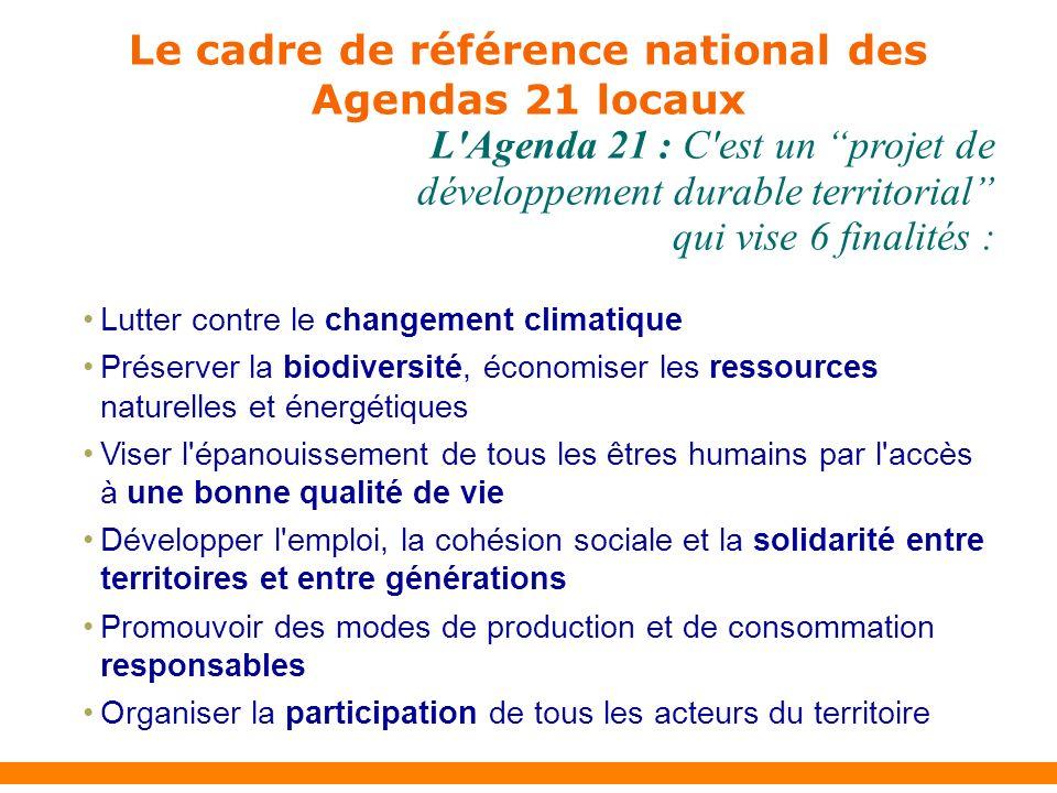 Lutter contre le changement climatique Préserver la biodiversité, économiser les ressources naturelles et énergétiques Viser l épanouissement de tous les êtres humains par l accès à une bonne qualité de vie Développer l emploi, la cohésion sociale et la solidarité entre territoires et entre générations Promouvoir des modes de production et de consommation responsables Organiser la participation de tous les acteurs du territoire L Agenda 21 : C est un projet de développement durable territorial qui vise 6 finalités : Le cadre de référence national des Agendas 21 locaux