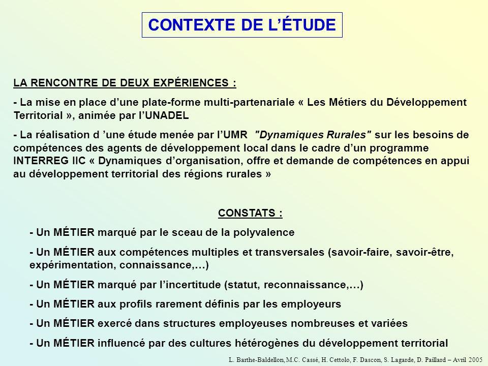 LA RENCONTRE DE DEUX EXPÉRIENCES : - La mise en place dune plate-forme multi-partenariale « Les Métiers du Développement Territorial », animée par lUN