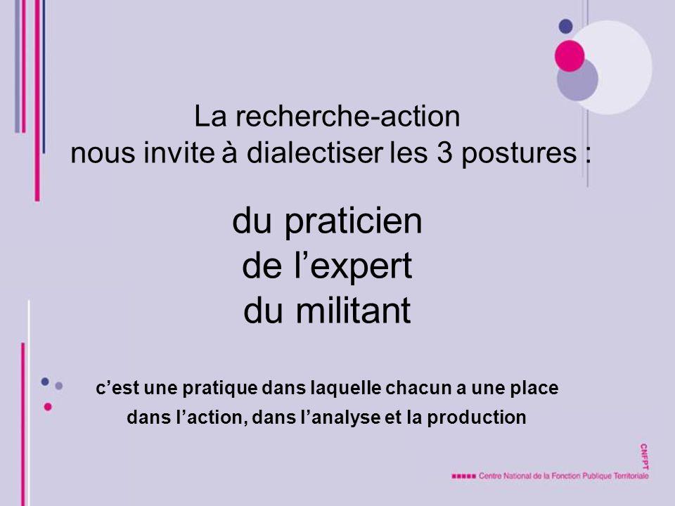 La recherche-action nous invite à dialectiser les 3 postures : du praticien de lexpert du militant cest une pratique dans laquelle chacun a une place