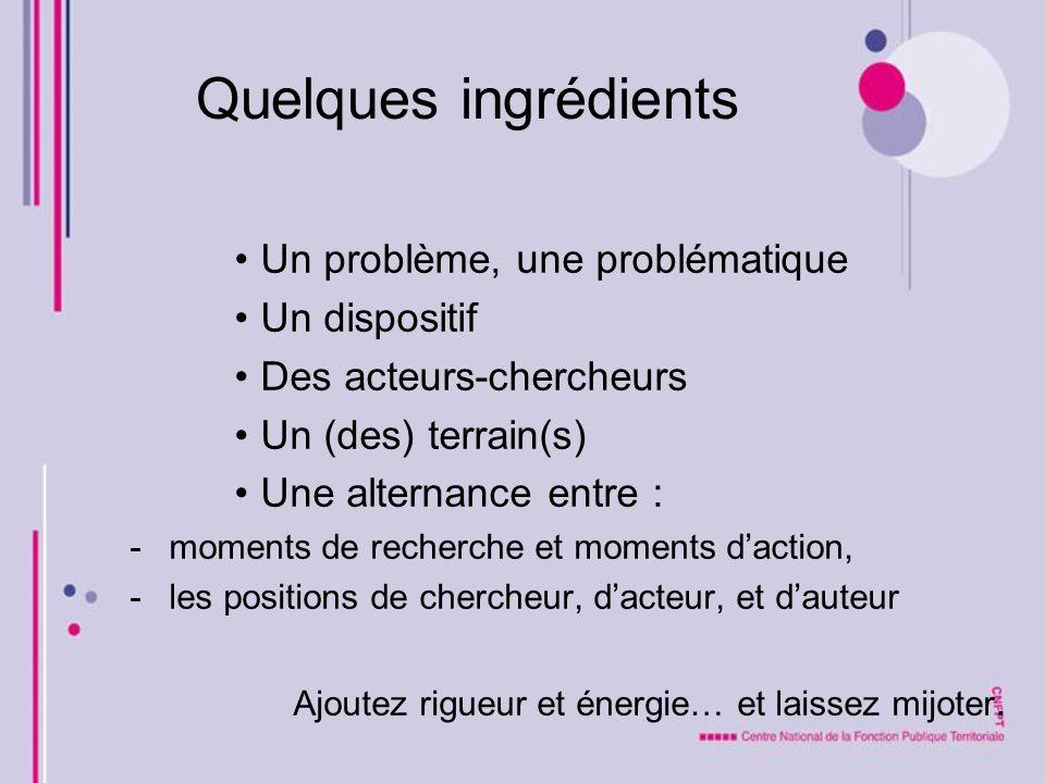 Quelques ingrédients Un problème, une problématique Un dispositif Des acteurs-chercheurs Un (des) terrain(s) Une alternance entre : -moments de recher