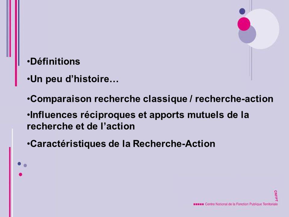 Définitions Un peu dhistoire… Comparaison recherche classique / recherche-action Influences réciproques et apports mutuels de la recherche et de lacti
