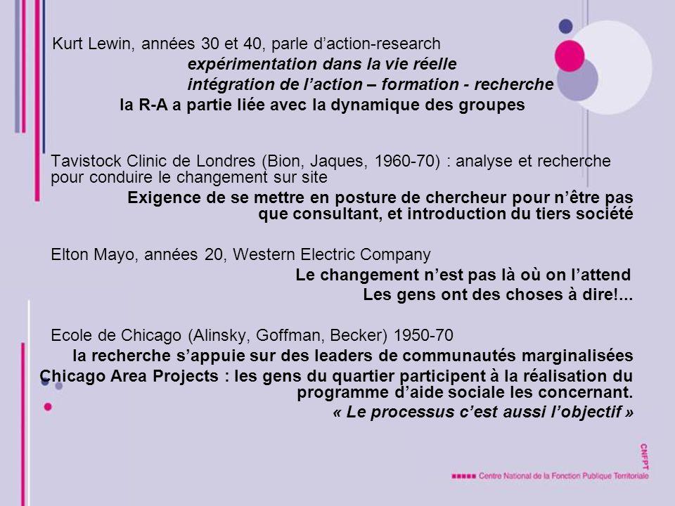 Tavistock Clinic de Londres (Bion, Jaques, 1960-70) : analyse et recherche pour conduire le changement sur site Exigence de se mettre en posture de ch