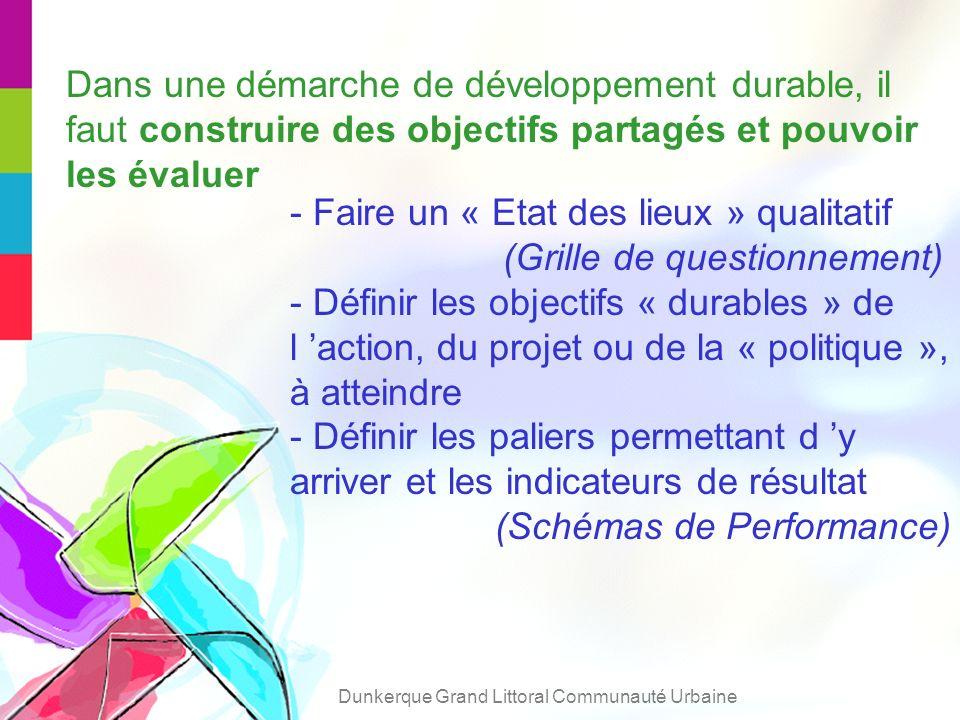 - Faire un « Etat des lieux » qualitatif (Grille de questionnement) - Définir les objectifs « durables » de l action, du projet ou de la « politique », à atteindre - Définir les paliers permettant d y arriver et les indicateurs de résultat (Schémas de Performance) Dans une démarche de développement durable, il faut construire des objectifs partagés et pouvoir les évaluer Dunkerque Grand Littoral Communauté Urbaine