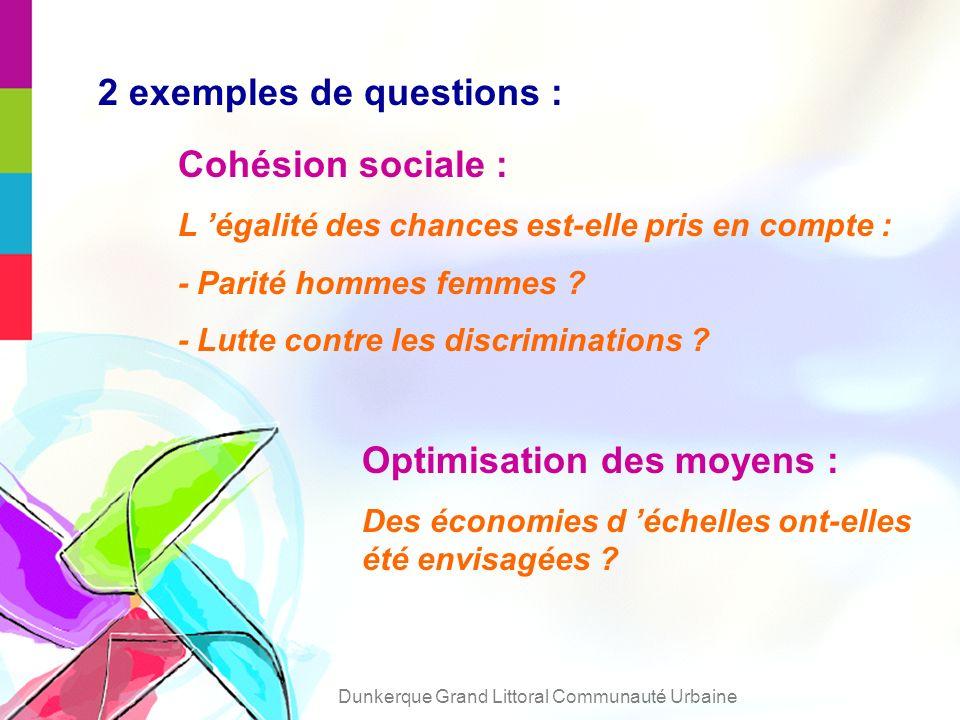 2 exemples de questions : Cohésion sociale : L égalité des chances est-elle pris en compte : - Parité hommes femmes .