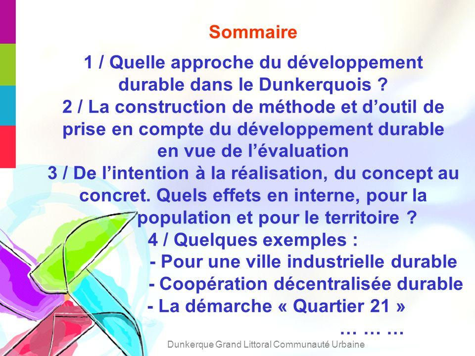 Sommaire 1 / Quelle approche du développement durable dans le Dunkerquois .