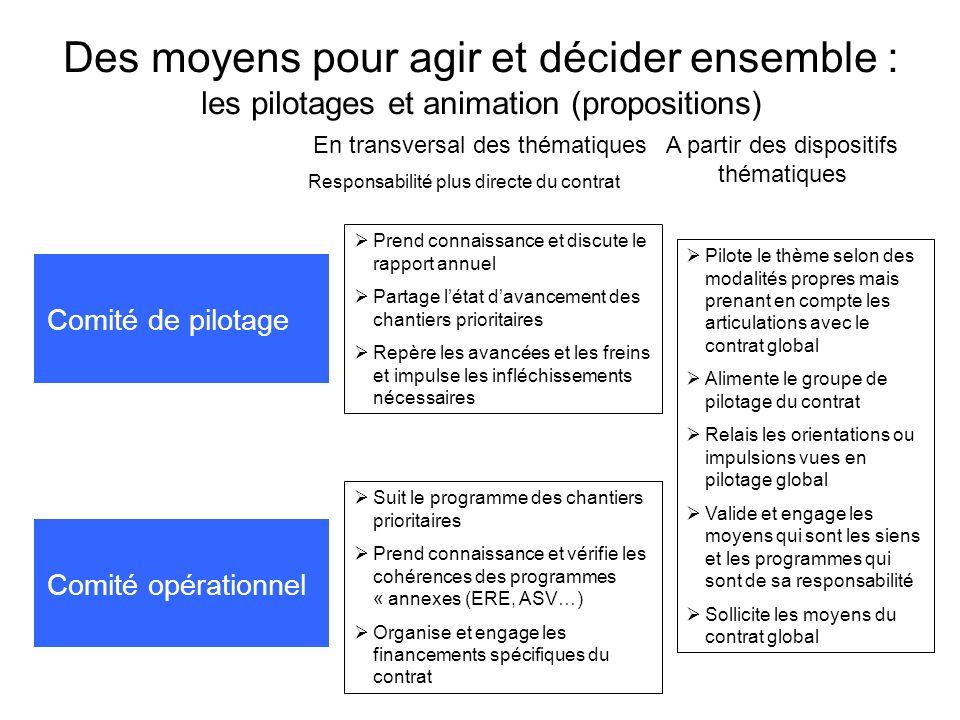 Des moyens pour agir et décider ensemble : les pilotages et animation (propositions) Comité de pilotage Prend connaissance et discute le rapport annue