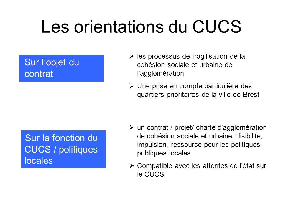 Les orientations du CUCS Sur lobjet du contrat Sur la fonction du CUCS / politiques locales les processus de fragilisation de la cohésion sociale et u