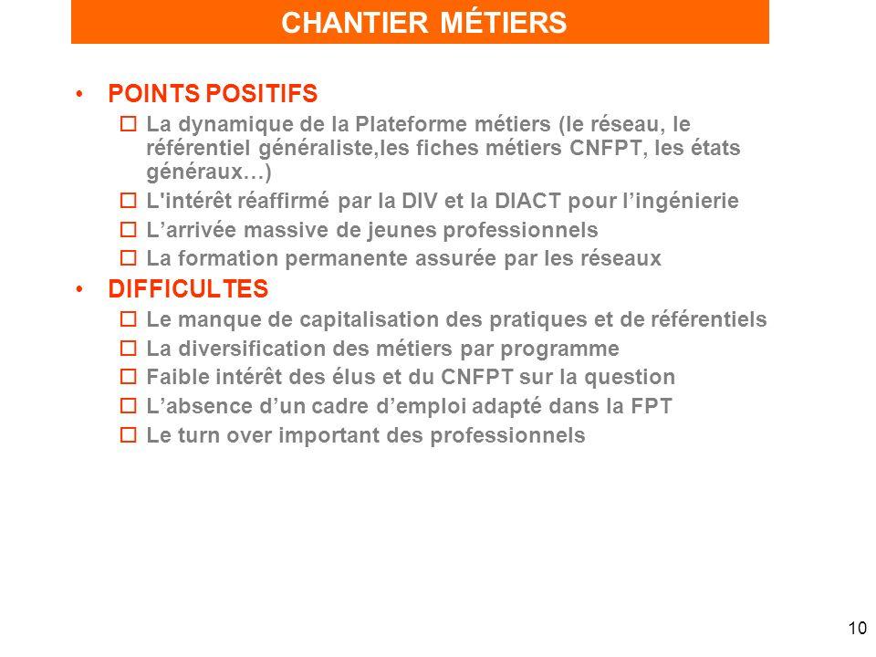 10 POINTS POSITIFS oLa dynamique de la Plateforme métiers (le réseau, le référentiel généraliste,les fiches métiers CNFPT, les états généraux…) oL'int