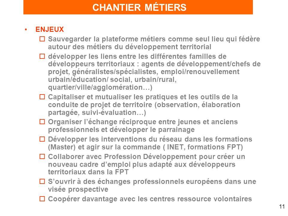 11 ENJEUX oSauvegarder la plateforme métiers comme seul lieu qui fédère autour des métiers du développement territorial odévelopper les liens entre le