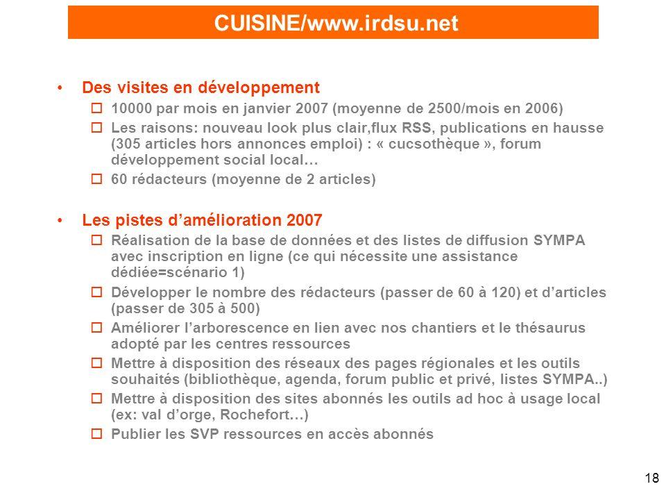 18 Des visites en développement o10000 par mois en janvier 2007 (moyenne de 2500/mois en 2006) oLes raisons: nouveau look plus clair,flux RSS, publica